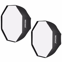 Neewer 47 inches Black Octagonal Softbox with White Diffuser and Bag(2 Pack)