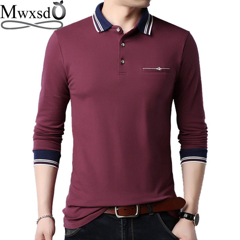 Mwxsd brand casual mens cotton   polo   shirt men soft solid   polo   male long sleeve   polo   camisa   polo   masculina big size 3xl 4xl 5xl