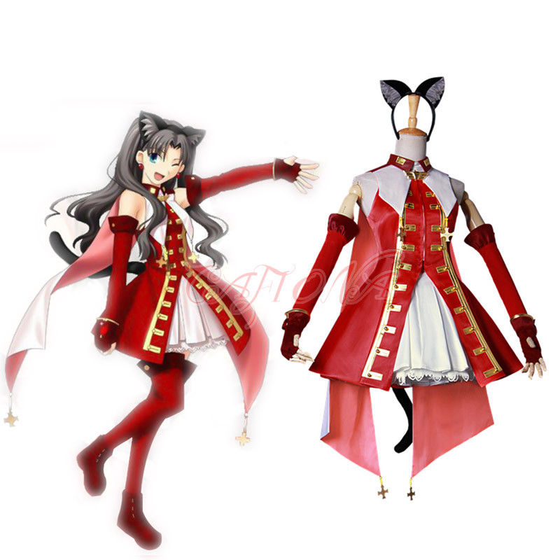 Cafiona Fate/Hollow Ataraxia Tohsaka Rin Cosplay Costume Sexy Girls Red Dress Any Size