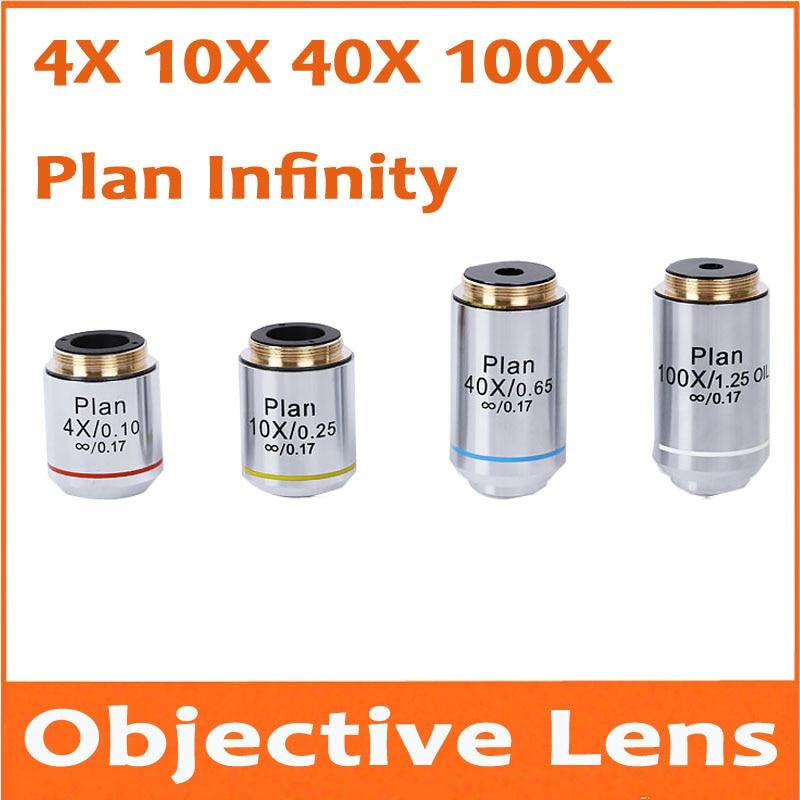 4X 10X 40X 100X 20X 60X Infinity Plan Achromatic Objective Lens Educational Olympus Biomicroscope Biological Microscope 20.2mm 4pcs set biological microscope achromatic objective lens 10x 20x 40x 100x 160 0 17