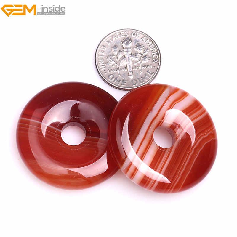 Gem-dentro 30-40mm Contas de Pedra Natural Anéis Onyx Red Sardonyx Rosquinhas Ágatas Contas Para Fazer Jóias pingente de Pérolas DIY