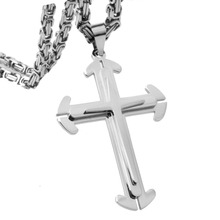 Fashion Hipper Stainless Steel Silver Color Christian Jesus Cross Pendant With 5mm Byzantine Chain Necklace Men's Boy's Jewelry