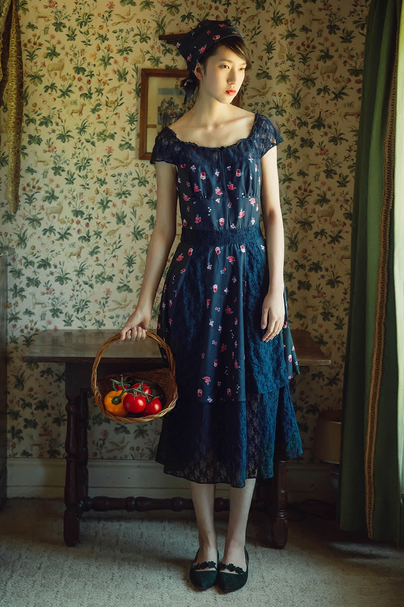 French Country Clothing Part - 31: UP007 Original Design Summer 2016 Vintage French Country Style Lace  Patchwork Navy Blue Floral Dress Women-in Dresses From Womenu0027s Clothing U0026  Accessories On ...