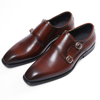 Double Monk Shoes Black / Deep Brown Pointed Toe Prom Shoes Boys Dress Shoes Genuine Leather Wedding Shoes Male Business Shoes