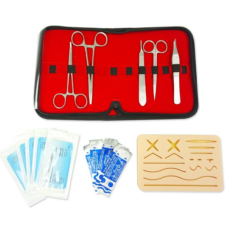 25 en 1 Kit de formation chirurgicale de Suture de peau médicale Silicone Pad aiguille ciseaux doux facile à utiliser Silicone + acier inoxydable
