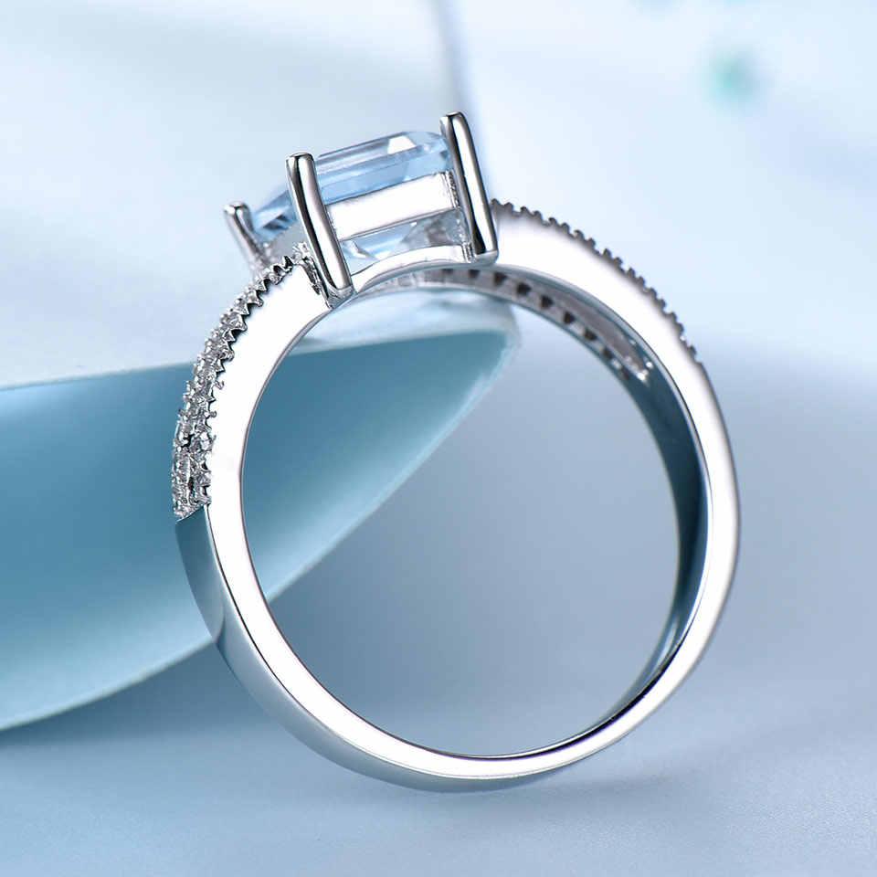 UMCHO Твердые 925 пробы серебряные ювелирные изделия создан нано Голубой топаз кольца для женщин коктейльное кольцо Свадебная вечеринка хорошее ювелирное изделие