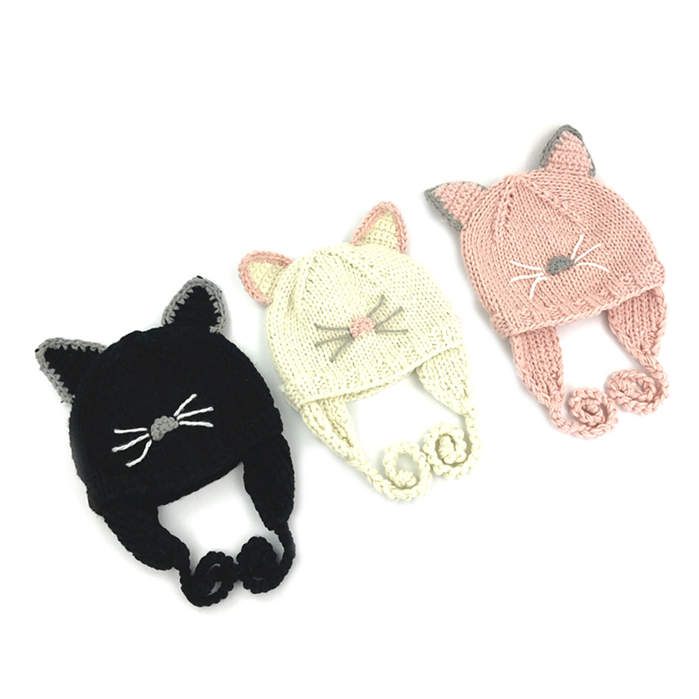 Baby Children Boys Girls Animal Cat Ear Kids Crochet Knitted Hat Winter Patchwork Warm Infant Beanie Cotton Cap Cute 3 colors