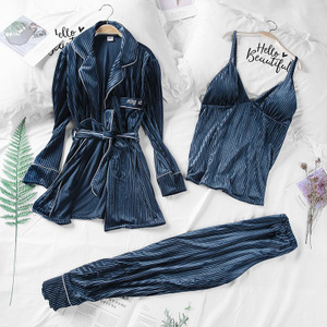 Image 1 - Daeyard Women Luxury Velvet Sleepwear Pajamas Autumn Winter Fashion Striped Pajama Set Caimi Pants & Robes 3Pcs Nightie Homewear