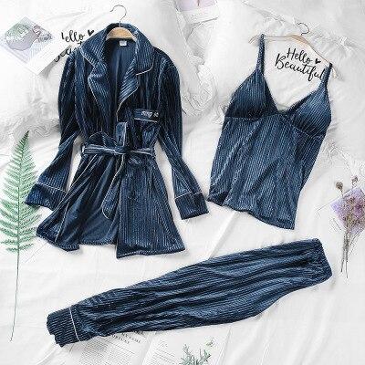 Daeyard Women Luxury Velvet Sleepwear Pajamas Autumn Winter Fashion Striped Pajama Set Caimi Pants & Robes 3Pcs Nightie Homewear