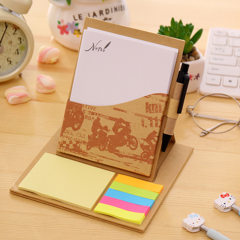 diy creative cute vintage kraft paper notebook with memo pad post it & pen sticky note sitcker for school & office supplies new index paper sticker for notebook note cute sticky note post it memo pad for school