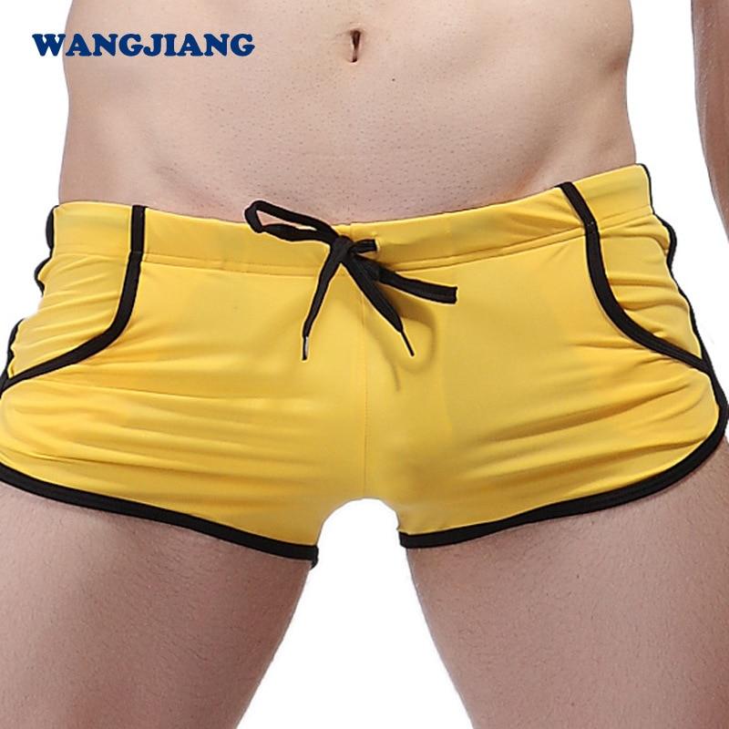 Сексуальное нижнее белье бикини мужские трусы нейлоновые трусы-боксеры пляжная одежда для мужчин доска пляжный купальный костюм Мужская ванна бассейн Одежда карман YK13 - Цвет: Цвет: желтый