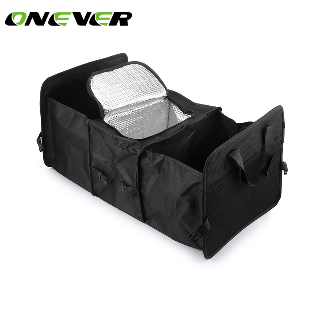 Onever Oxford Cloth Multi Compartment Foldable Storage Basket Refrigerator Carrier Organizer Set Car Trunk High Quality Black