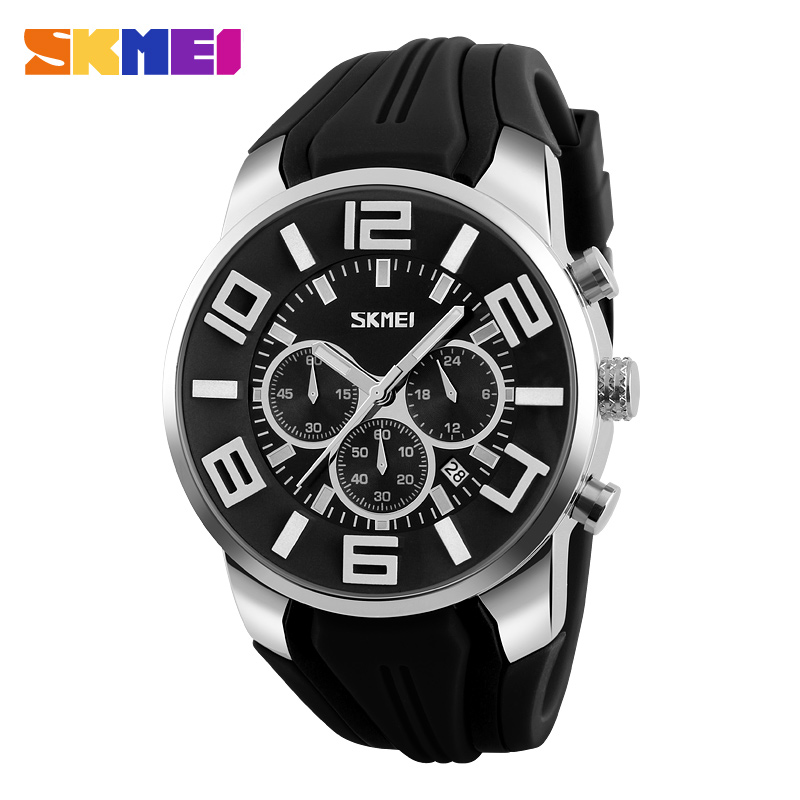 SKMEI Men Quartz Analog Sport Watch Fashion Casual Stop Watch Date Waterproof Men's Clock Outdoor Watches Relogio Masculino 9128