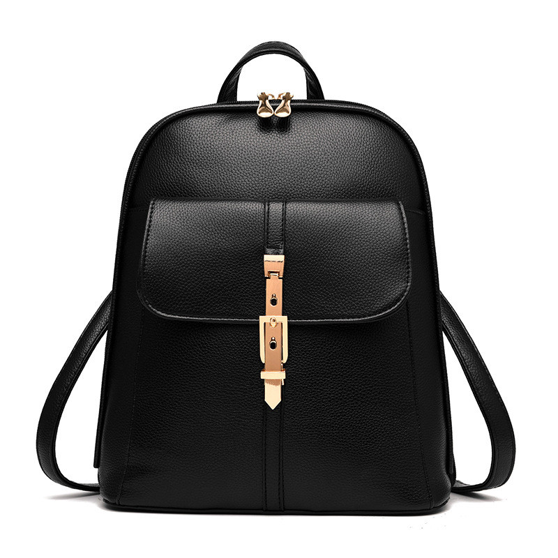 Women Backpacks Daypack Fashion For Teenage Girl School Bag Solid PU Leather Bags Candy Color Travel