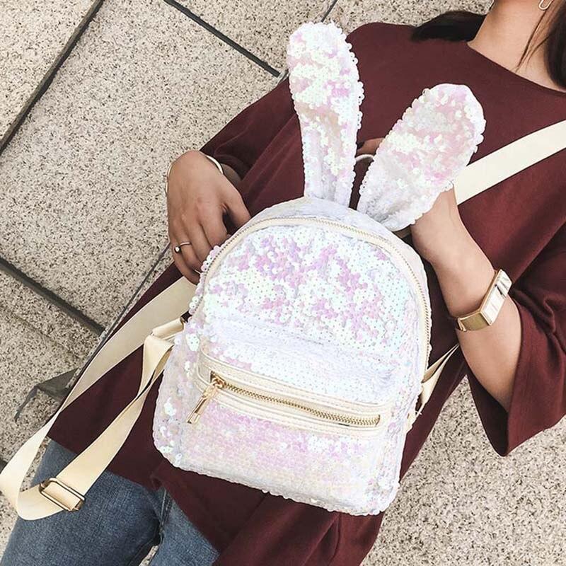 12acf22569fc ... Фото 4 Блеск Для женщин маленький рюкзак серебряные блестки день пакет  2018 Прохладный девочек-подростков ...