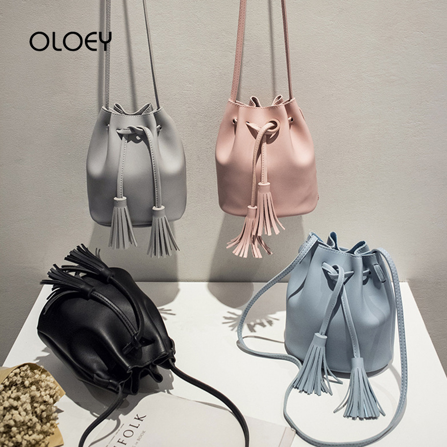 Vintage Small Women Tassel Bucket Bag For Luxury Handbags Women Shoulder Bags Designer Girls Drawstring Messenger Crossbody Bag