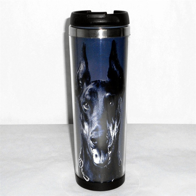New Mug Doberman Pinscher Dog Creative Coffee Mug Tea Milk Water Cup Stainless Steel Leakproof Travel Mug for Adults Gift
