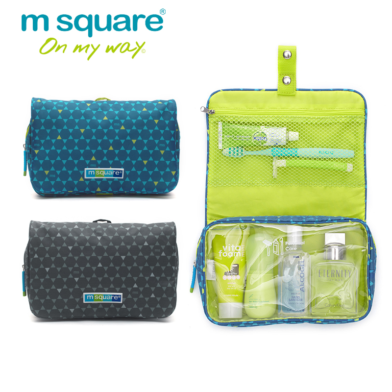 M Square Travel Cosmetic Bag Women Men Large Waterproof Makeup Bag Organizer Case Necessaries Make Up Wash Toiletry Bag elegant business men toiletry bag travel organizer cosmetic bag necessaries