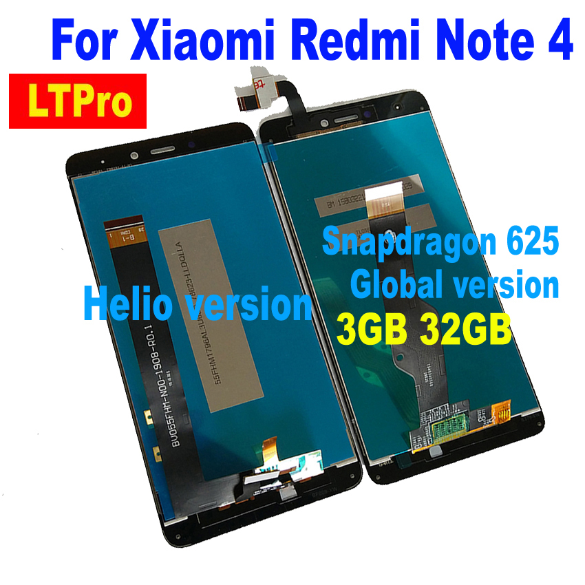LTPro New for MTK Helio X20 / Global version LCD Display Touch Screen Digitizer Assembly Sensor For Xiaomi Redmi Note 4 4X