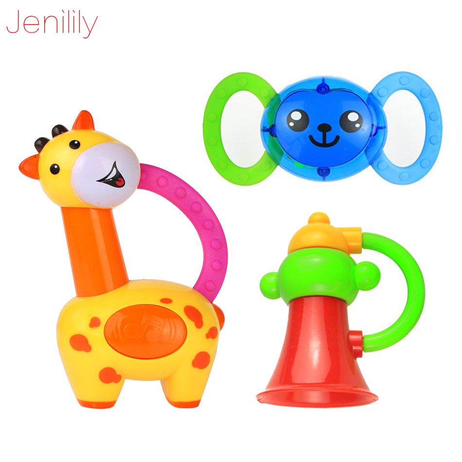 New Baby Rattle Toy Teether Music Hand Shake Bed Bells Newborns Animal Rattles Educational Baby Toys 0-12 Months