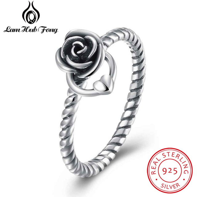2018 New Women Rings Solid 925 Sterling Silver Trendy Rose Flower With Heart Rin