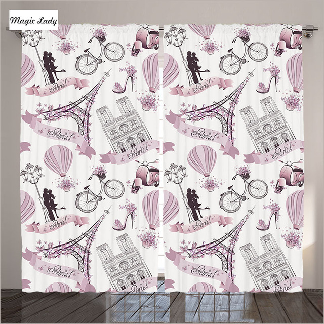 Curtains Eiffel Tower Decor Paris Symbols Flowers Romance Hot Air Balloon  Bike Pink Living Room Bedroom