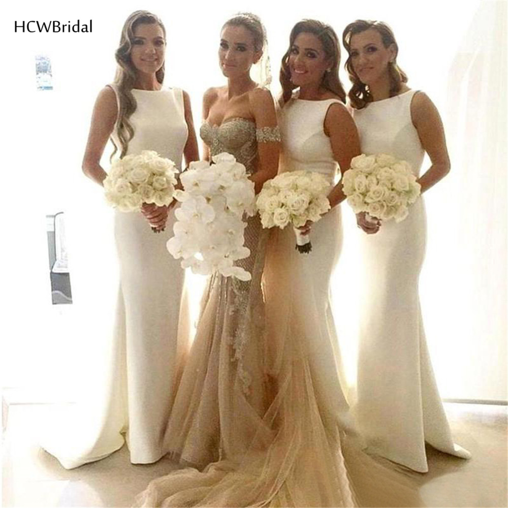 Hot Selling White Long Maid Of Honor   Dresses   Cheap Sleeveless Satin Mermaid   Bridesmaid     Dress   2019 Women Wedding Party Gowns