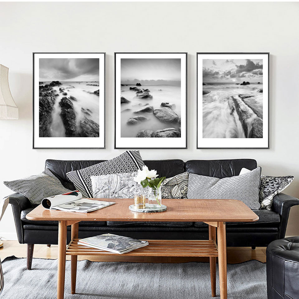 Hd seascape black white photography poster print canvas painting wall picture modern nordic art home decor 3 piece no frame