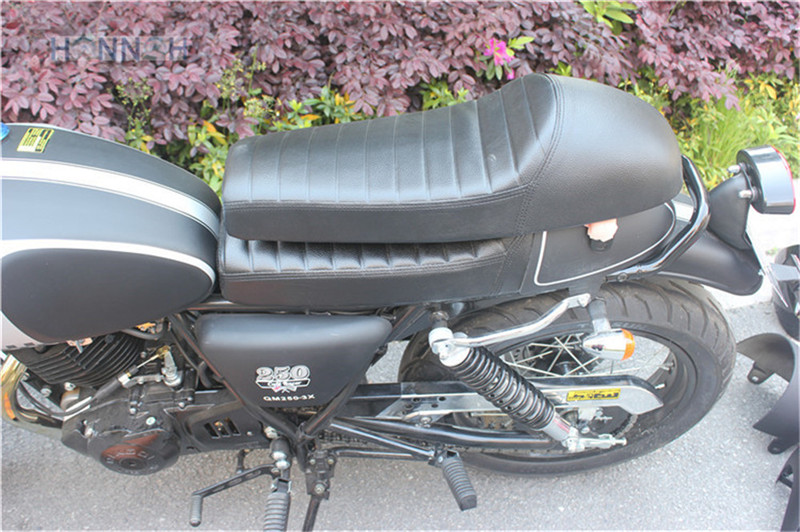 64cm Motorcycle Hump Cafe Racer Seat For Suzuki For Honda For <font><b>Yamaha</b></font> <font><b>Sr400</b></font> <font><b>Sr500</b></font> Xs650 Waterproof Abs Pu Leather Black image