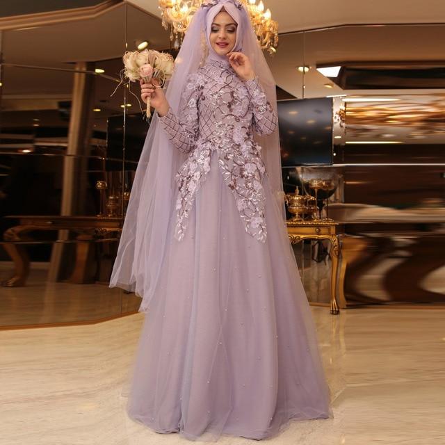 Vintage Lavender Tulle Muslim Wedding Dresses Fl Liques Embroidery Dubai Arabic Bridal Dress Long Sleeves Robe