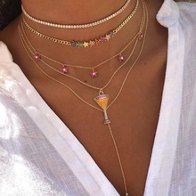 2019 New Colorful Zircon Red Wine Goblet CZ Pendant & Necklaces Rainbow Gold Color women fashion Choker Necklace gifts