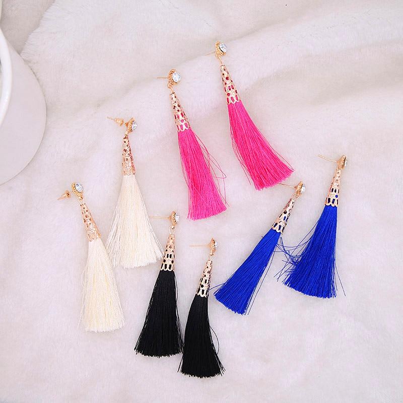 New Statement Fashion Jewelry Crystal Long Earring Tassel For Women 4 Colors Wedding Dangle Drop Earrings Wholesale