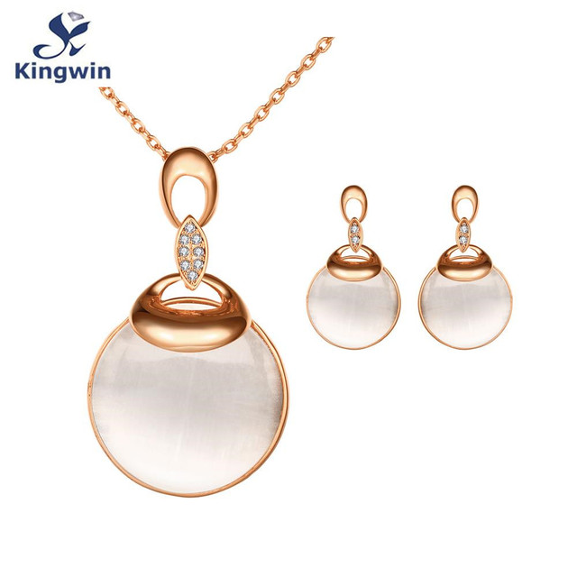 S438 опал розовое золото мода ювелирные наборы круглый серьги ожерелье с 45 см цепи оптовая приятно упаковка рождественский подарок