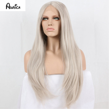 Fashion Natural Silver Grey Long Straight Synthetic Lace Front Wig Full Glueless Light Grey Heat Resistant Hair Women Wigs New