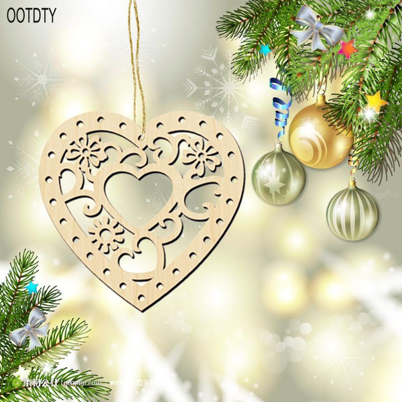10PCS DIY Craved Hollow Heart shaped Wood Chips Love Wooden Art Crafts Christmas Tree Hanging Wedding Ornament Decor in Wood DIY Crafts from Home Garden