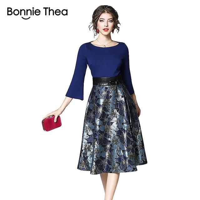 Bonnie Thea Autumn women's midi dress elegant blue Jacquard dress female long Sleeve ladies dresses Evening party dress clothes