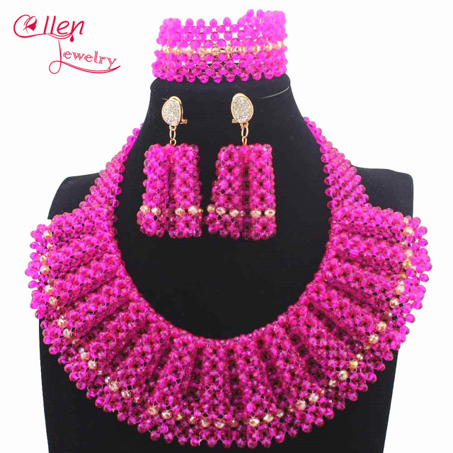 Fuschia Pink Crystal Beaded Bridal Necklace Set Mix Chunky Bib Women African Jewelry Sets New Year Gift Free Shipw14038