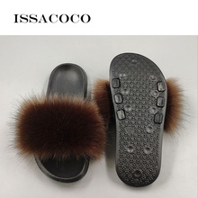 ISSACOCO Winter Womens Fur Slippers Indoor Furry Home Shoes Warm Fox For Women Slides Flip Flops Fluffy Sandals