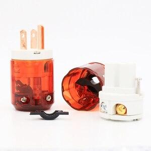 Image 2 - Free shipping 1 pair US plug P046+C046 Red Copper US AC Power Plug Audio Power Plug