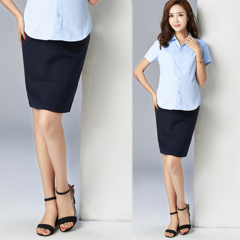 Spring and summer autumn maternity dress professional step pregnant women skirt stretch belly skirt large yards tooling women work dress longsleeve spring new european station grid pencil skirt fake two professional dress l13