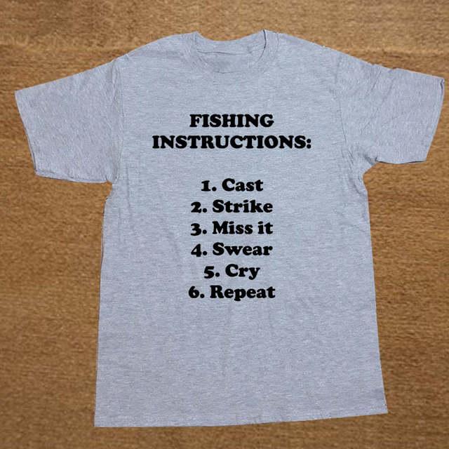 02b4807a17f Summer New Fish Instructions Fisherman Birthday Gift Funny T Shirt Men  Short Sleeve Printed O neck Cotton Cartoon T shirt Tops-in T-Shirts from  Men's ...
