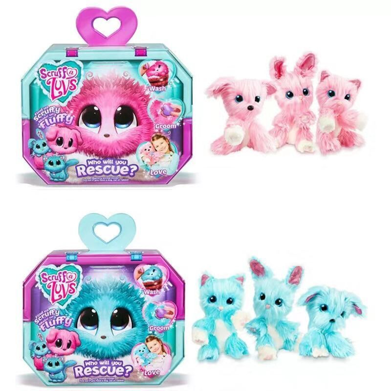 Bath Dog Children Toys Plush Soft Stress Released Relief Blue Pink Long-haired Lovwly Dog Toy For Kids Boys Girls Gift