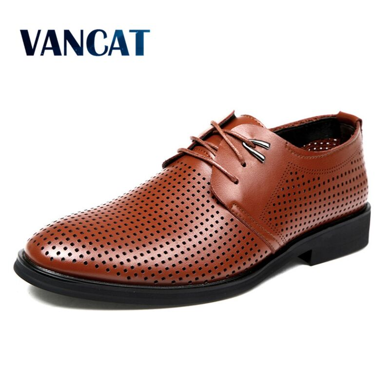 VANCAT New 2018 Summer Men  Shoes Breathable Oxfords Shoes For Men Formal Lace Up Leather Shoes Men Dress Formal Office