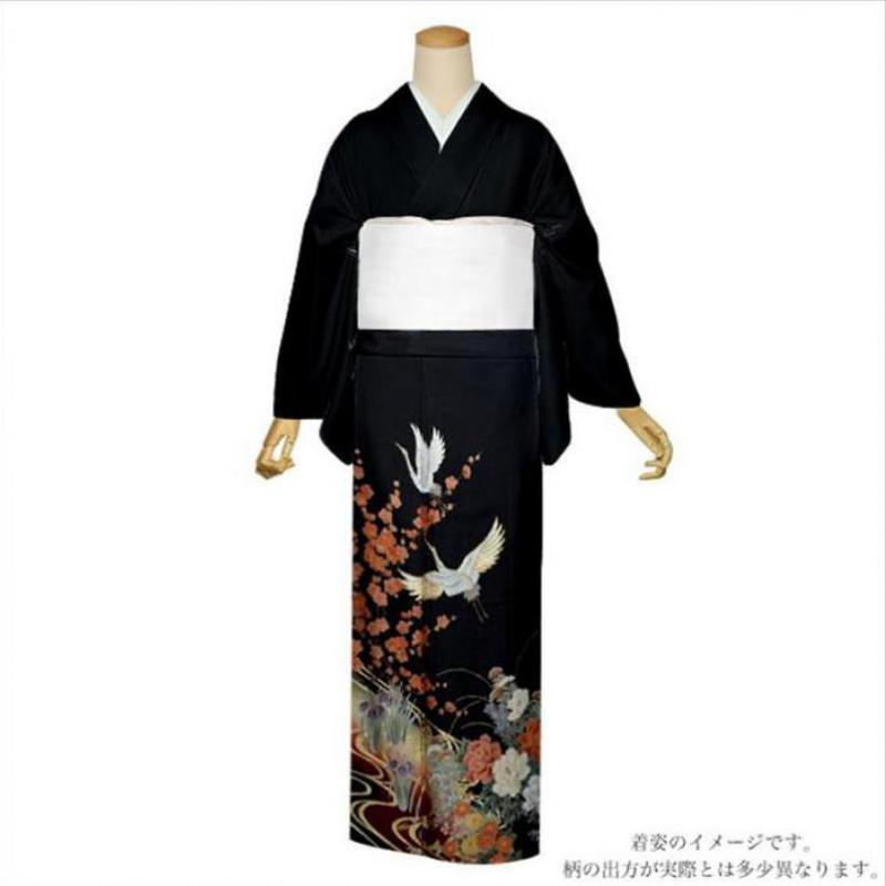 9PCS Women Print Flower Clothing Japanese Traditional Yukata Geisha Kimono With Obi Black Cosplay Stage Performance Costumes