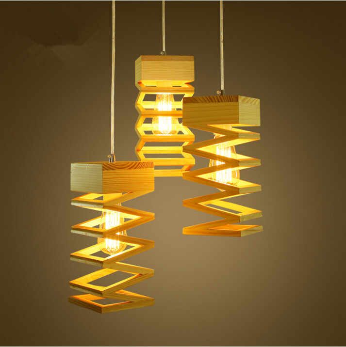 Modern Lamps Pendant Lights Wood Lamp Restaurant Bar Coffee Dining Room Led Hanging Light Fixture Wooden Free Shipping