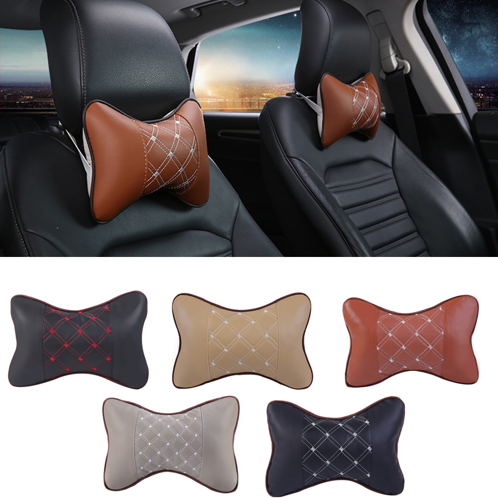 Car Headrest Pillow PU Leather Car Seat Head Neck Rest Cushion Neck Support Pillows Auto Headrest For Cars Interior Accessories