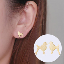 Oly2u New Beautiful Ball Poodle Dog Earrings Animal Female Girls EarrsChildren Toy Poodle Stud Earrings(China)