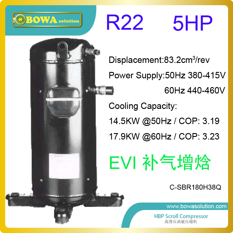 5HP hermetic scroll compressor with EVI port are used in air source heat pump water heater in cold zone or north area