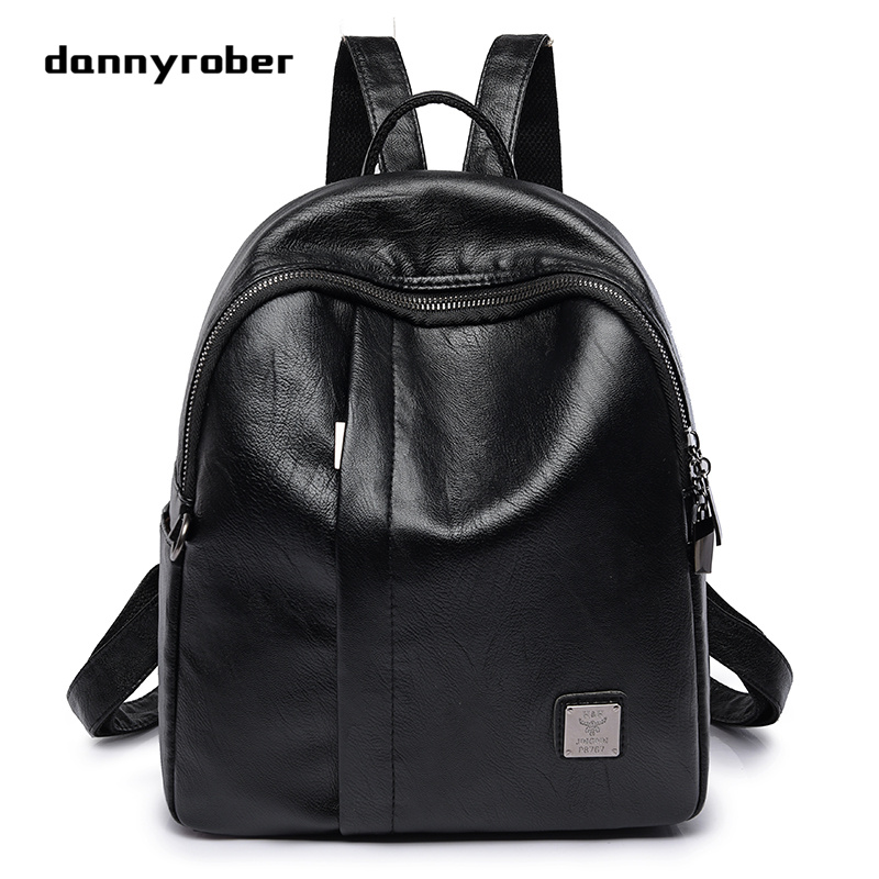simple fashion trend small black pu backpack bags with headphone plug multi pockets double