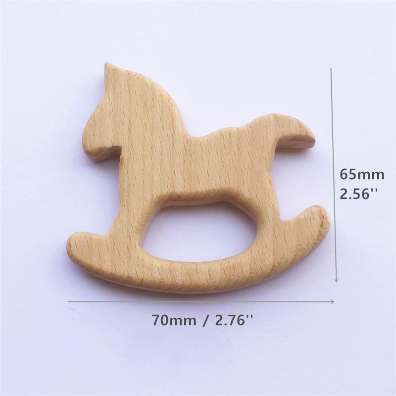 Купить с кэшбэком Chenkai 10pcs Wooden Horse Teether Nature Baby Rattle Teething Grasping Toy DIY Organic Eco-friendly Wood Teething Gift